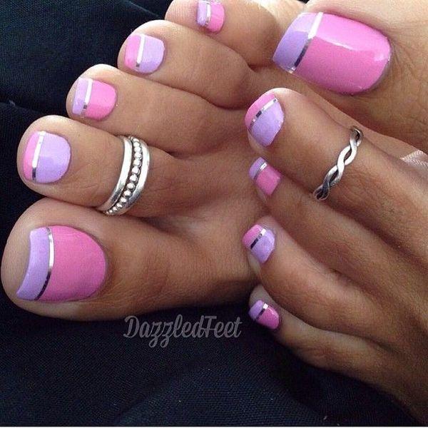 Pink And Purple Toe Nail Art