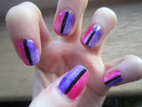 55 most stylish purple nail art designs pink and purple with black strip design nail art prinsesfo Images