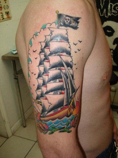 traditional pirate ship tattoo on man neck. Black Bedroom Furniture Sets. Home Design Ideas