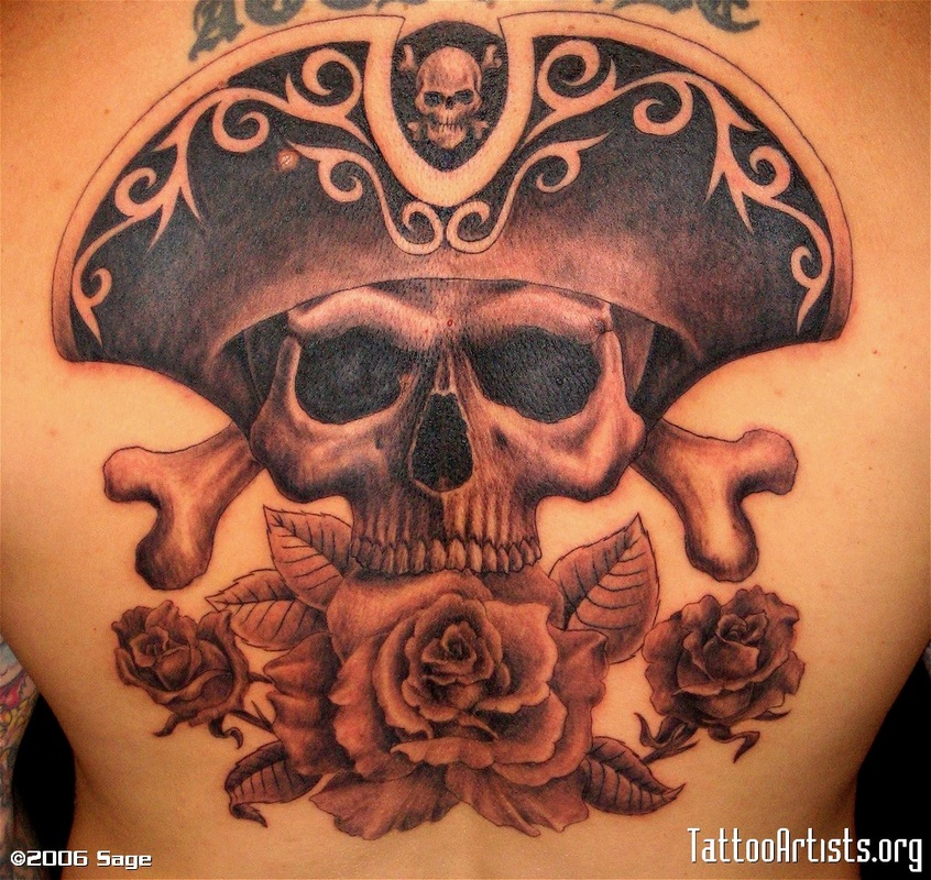 7 pirate skull and crossbones tattoo for Skull and crossbones tattoo