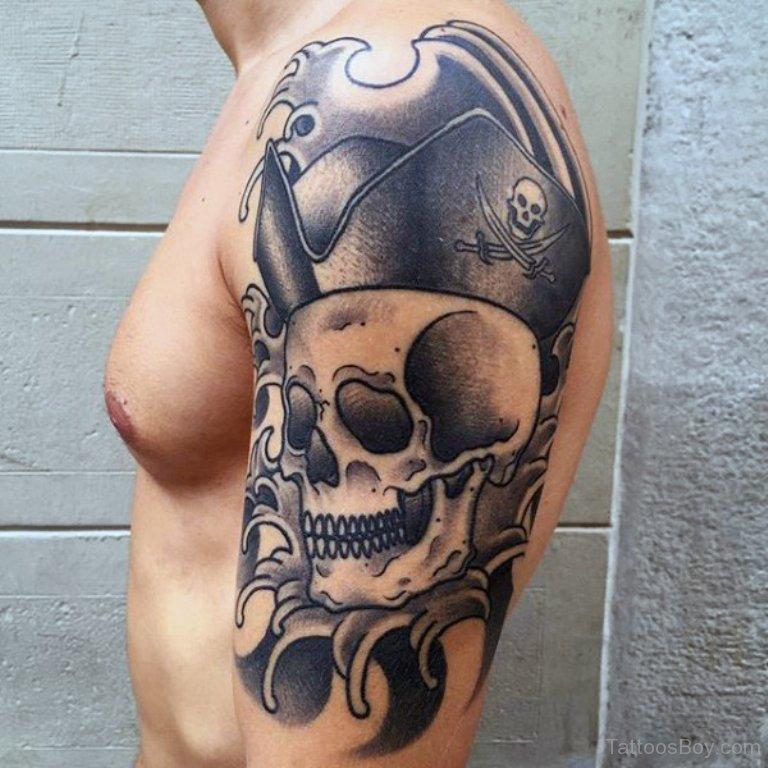 terrific pirate skull tattoo on arm. Black Bedroom Furniture Sets. Home Design Ideas