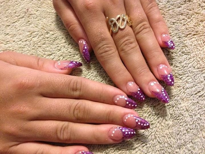 Purple Acrylic French Tip And White Dots Design Nail Art