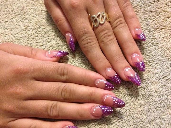 50 cool purple french tip nail art design idea purple acrylic french tip and white dots design nail art prinsesfo Choice Image
