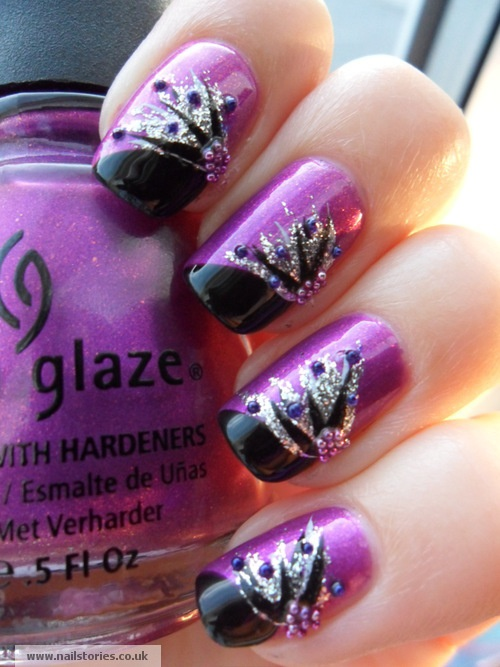 Purple And Black Nails With Silver Glitter Design Idea - 65+ Purple And  Silver Nail - Purple And Silver Nail Designs Graham Reid
