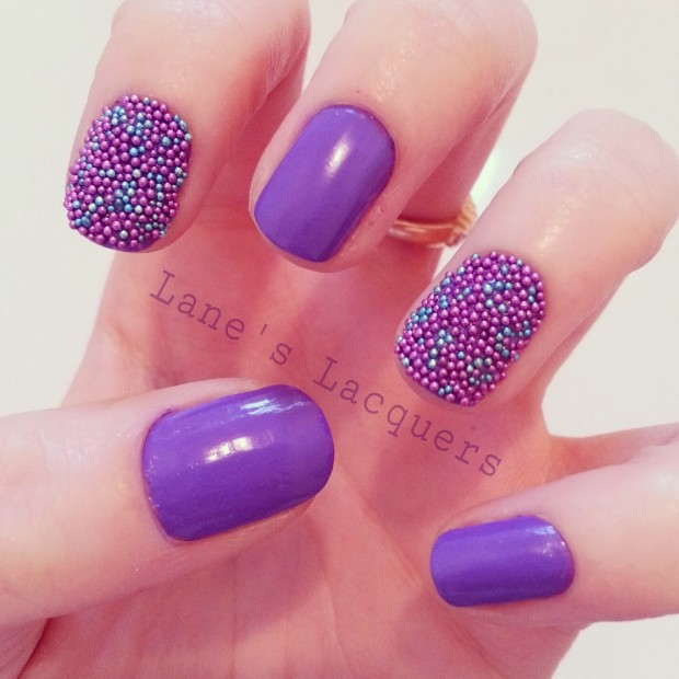 Purple And Blue Caviar Beads Design Nail Art - 55 Most Stylish Purple Nail Art Designs