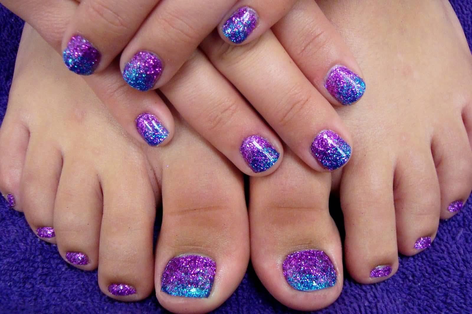 Purple And Blue Glitter Nail Art