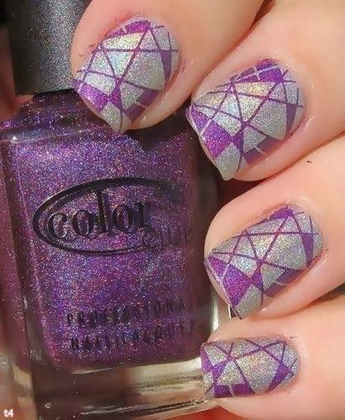 Silver and purple glitter acrylic nails