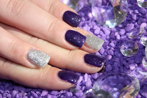 Purple And Silver Glitter Nail Art - 55 Most Stylish Purple Nail Art Designs - Purple And Silver Nail Designs Graham Reid