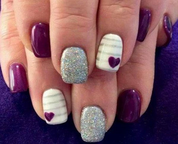 Purple And Silver Glitter Nail Design Idea - 65+ Purple And Silver Nail Art Design Ideas