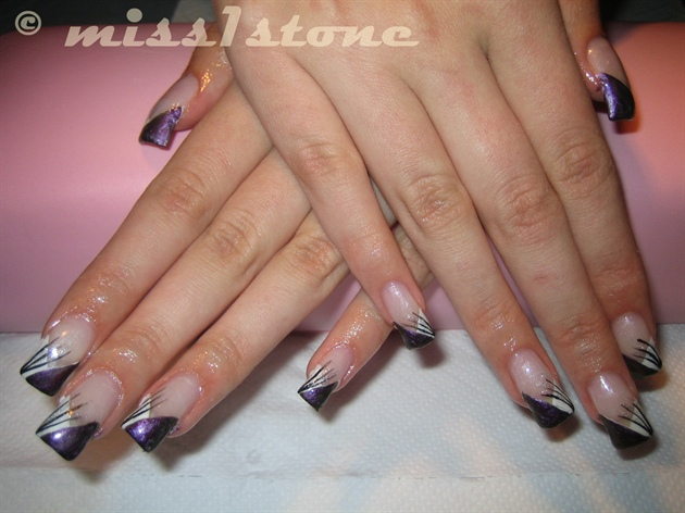 65 purple and silver nail art design ideas purple and silver strokes design nail art prinsesfo Gallery