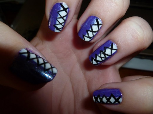 65 cool purple nail art design ideas purple and white corset design nail art prinsesfo Images