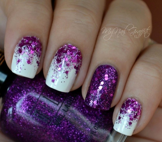 60 cool purple glitter nail art design ideas for trendy girls purple and white glitter nail art prinsesfo Gallery