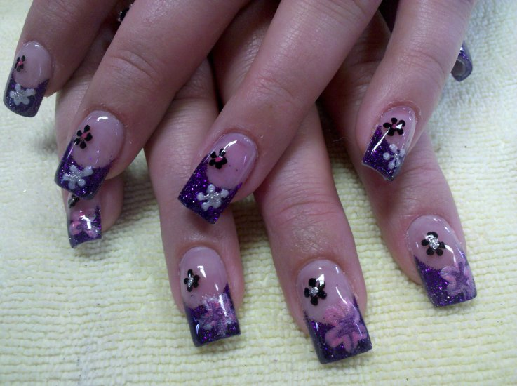 65 latest purple nail art designs for trendy girls purple french tip with white and black flowers nail art prinsesfo Choice Image
