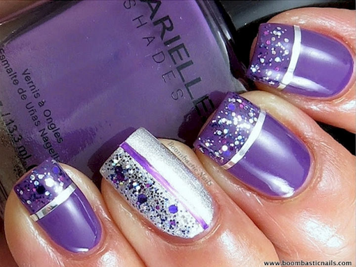 Purple Glitter And Striping Tape Design Nail Art - 55 Best Purple Nail Art Designs