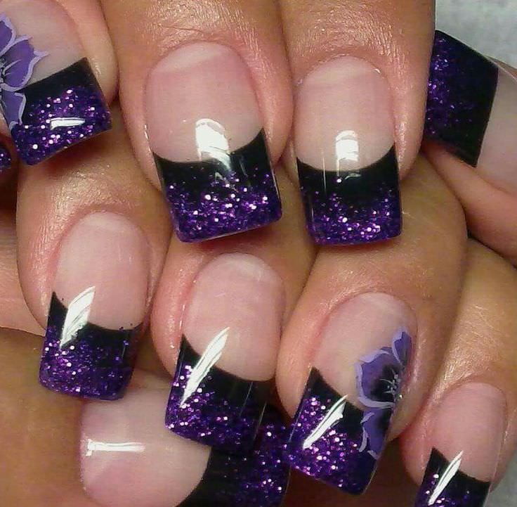 Purple Glitter Gel And Black Tip Nail Art Idea