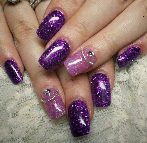 65 cool purple nail art design ideas purple glitter gel nail art idea prinsesfo Choice Image