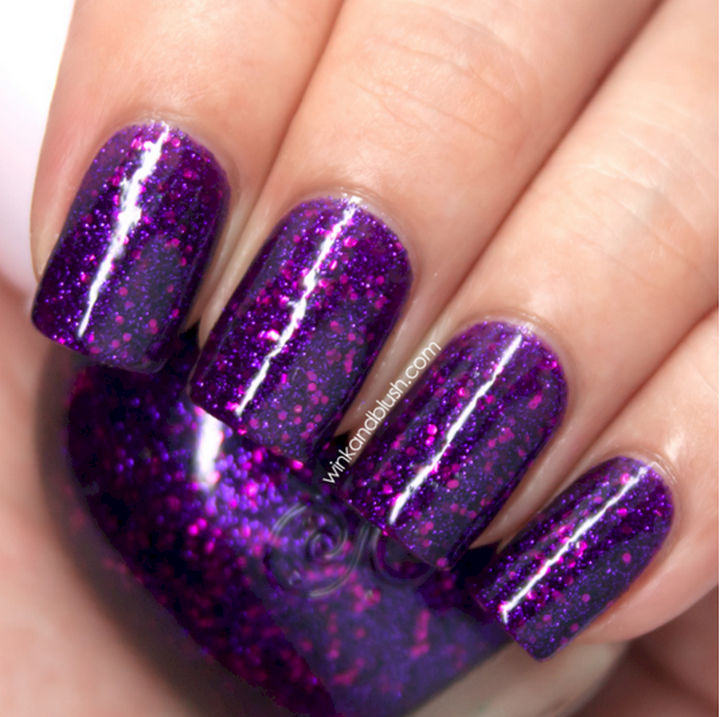 Purple Glitter Gel Nail Art