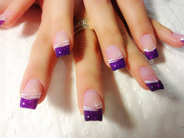 50 cool purple french tip nail art design idea purple glitter gel tips nail art with white lines design prinsesfo Gallery