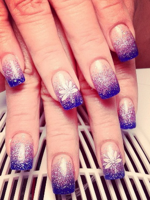 Purple Glitter Gradient Nail Art With White Flowers Design Idea - 60 Cool Purple Glitter Nail Art Design Ideas For Trendy Girls
