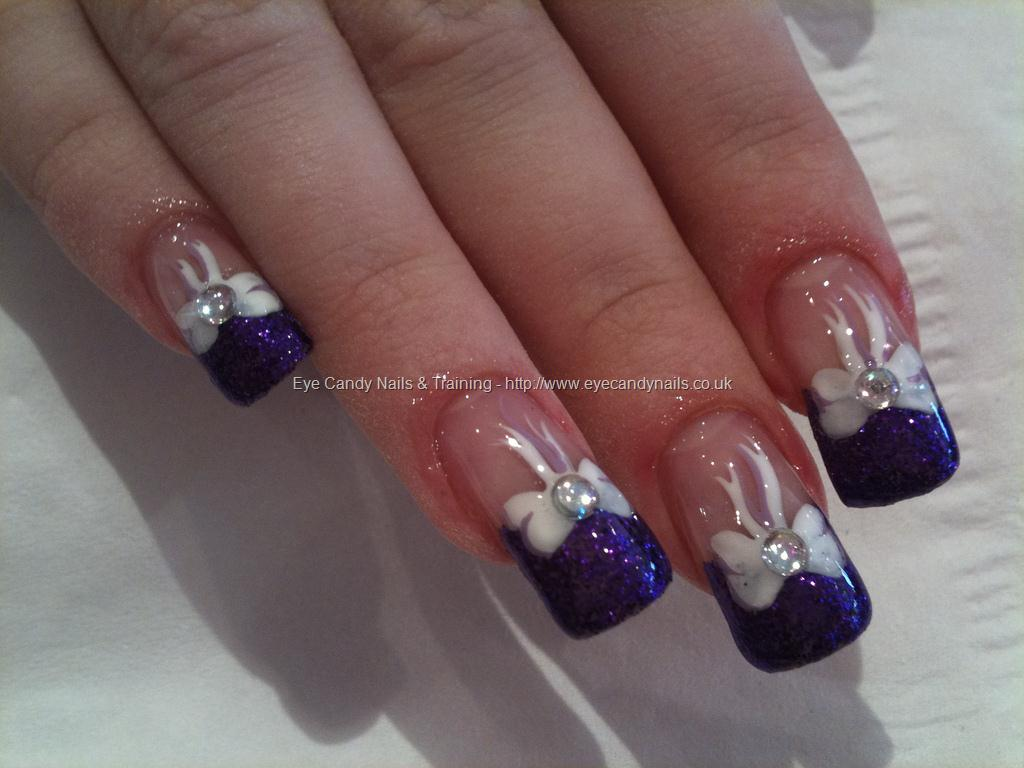 50 cool purple french tip nail art design idea purple glitter tip with white bow design nail art prinsesfo Choice Image