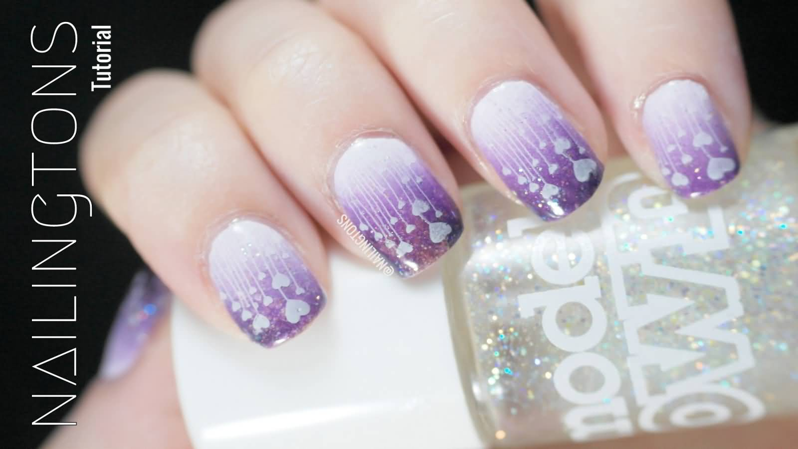 Purple Hearts Gradient Nail Art Stamping