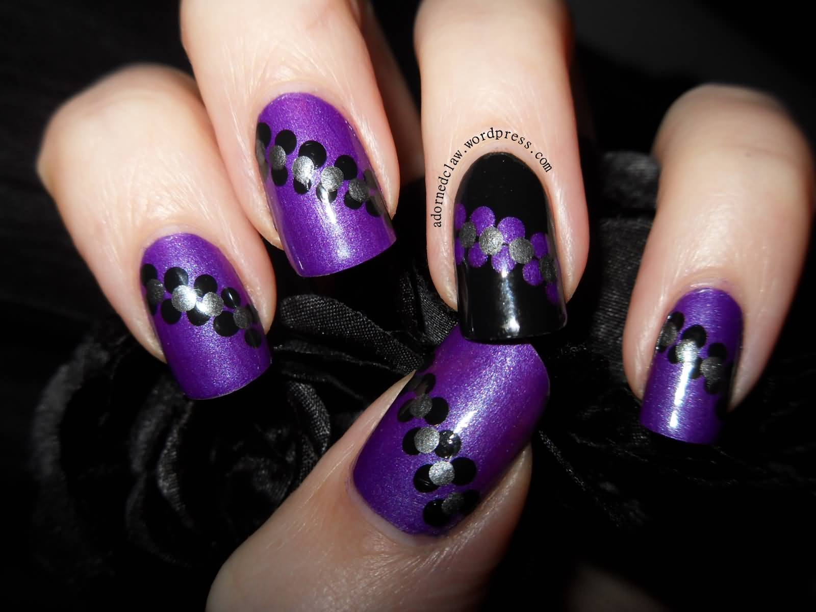 Purple Nails With Black And Silver Polka Dots Nail Art