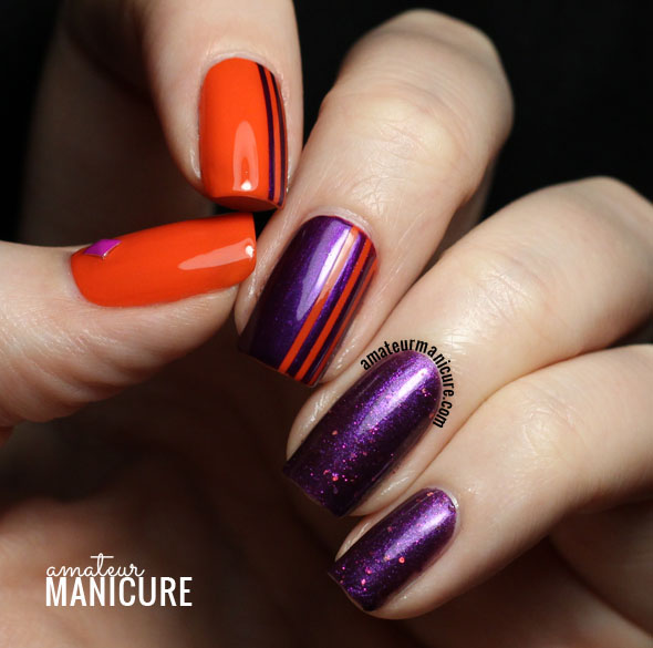 65 latest purple nail art designs for trendy girls purple nails with orange stripes design nail art prinsesfo Choice Image