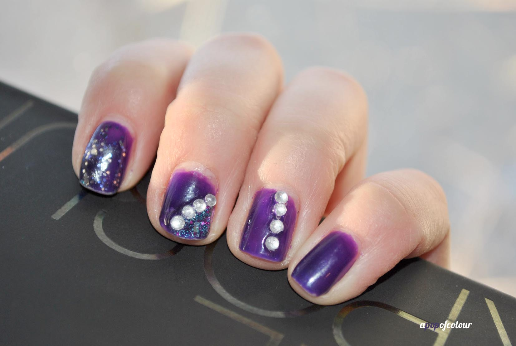 65 latest purple nail art designs for trendy girls purple nails with rhinestones design nail art idea prinsesfo Choice Image