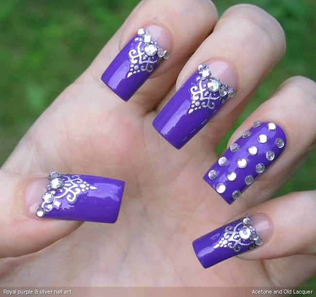 Purple Nail Designs With Rhinestones - Design and House Design ...
