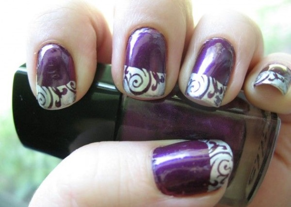 Purple Nails With Silver French Tip Nail Art Design Idea - 65+ Purple And Silver Nail Art Design Ideas