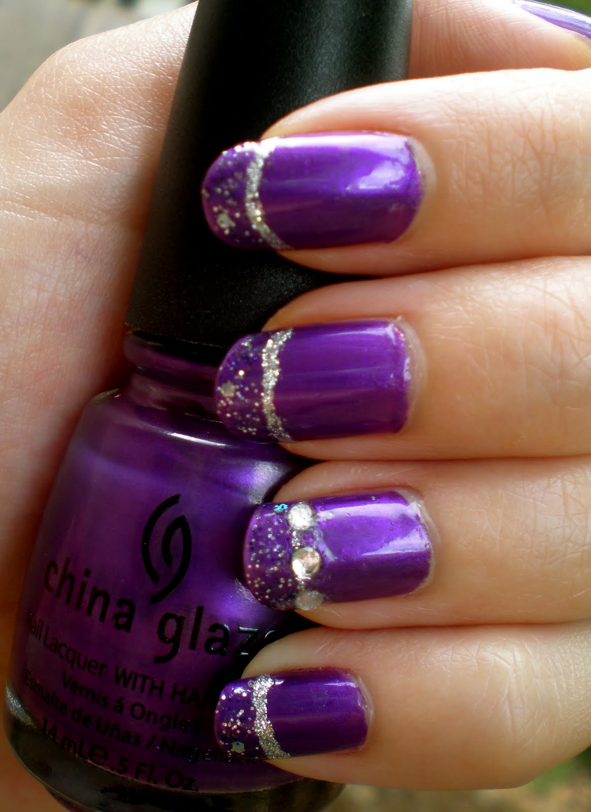 Purple Nails With Silver Glitter Stripes Design Nail Art - 65+ Purple And Silver Nail Art Design Ideas