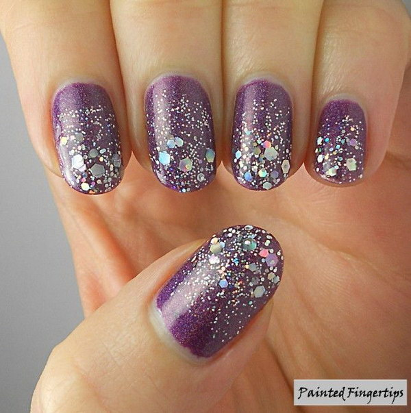Purple Nails With Silver Sparkle Glitter Nail Art