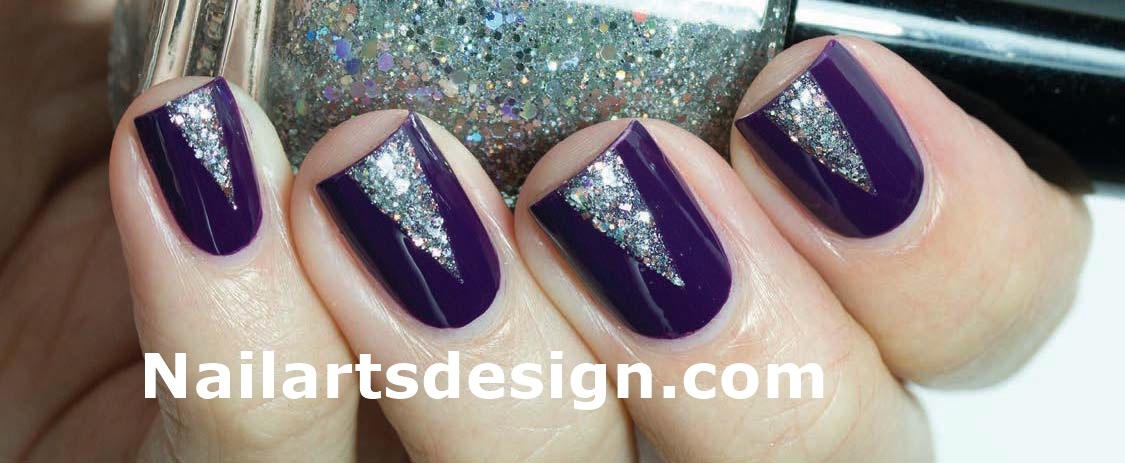 Purple Nails With Silver Triangle Design Nail Art Idea - 65+ Purple And Silver Nail Art Design Ideas