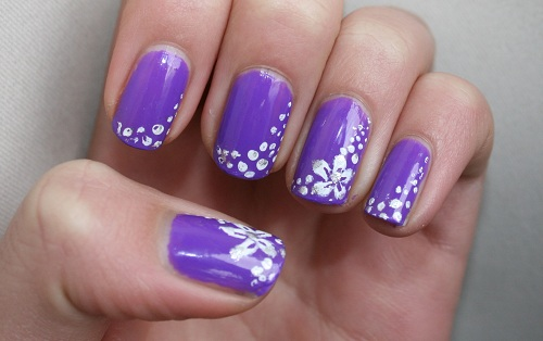 Purple Nails With White Flowers Nail Art Design Idea - 55 Best Purple Nail Art Designs