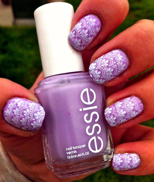 65 latest purple nail art designs for trendy girls purple nails with white flowers stamping design nail art design prinsesfo Gallery