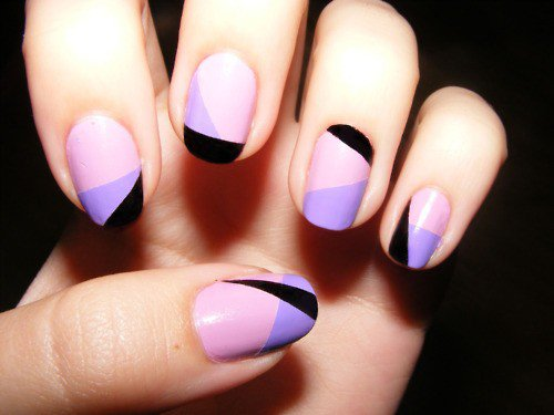 Purple Peach And Black Geometric Nail Art