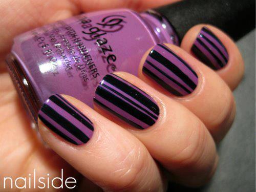 65 cool purple nail art design ideas purple stripes on black nail art design idea prinsesfo Image collections