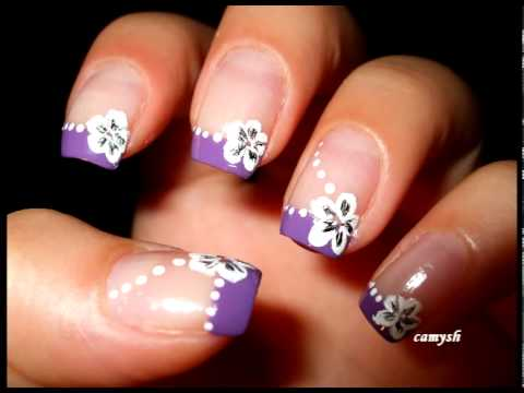 50 cool purple french tip nail art design idea purple tip and white flowers nail art prinsesfo Images