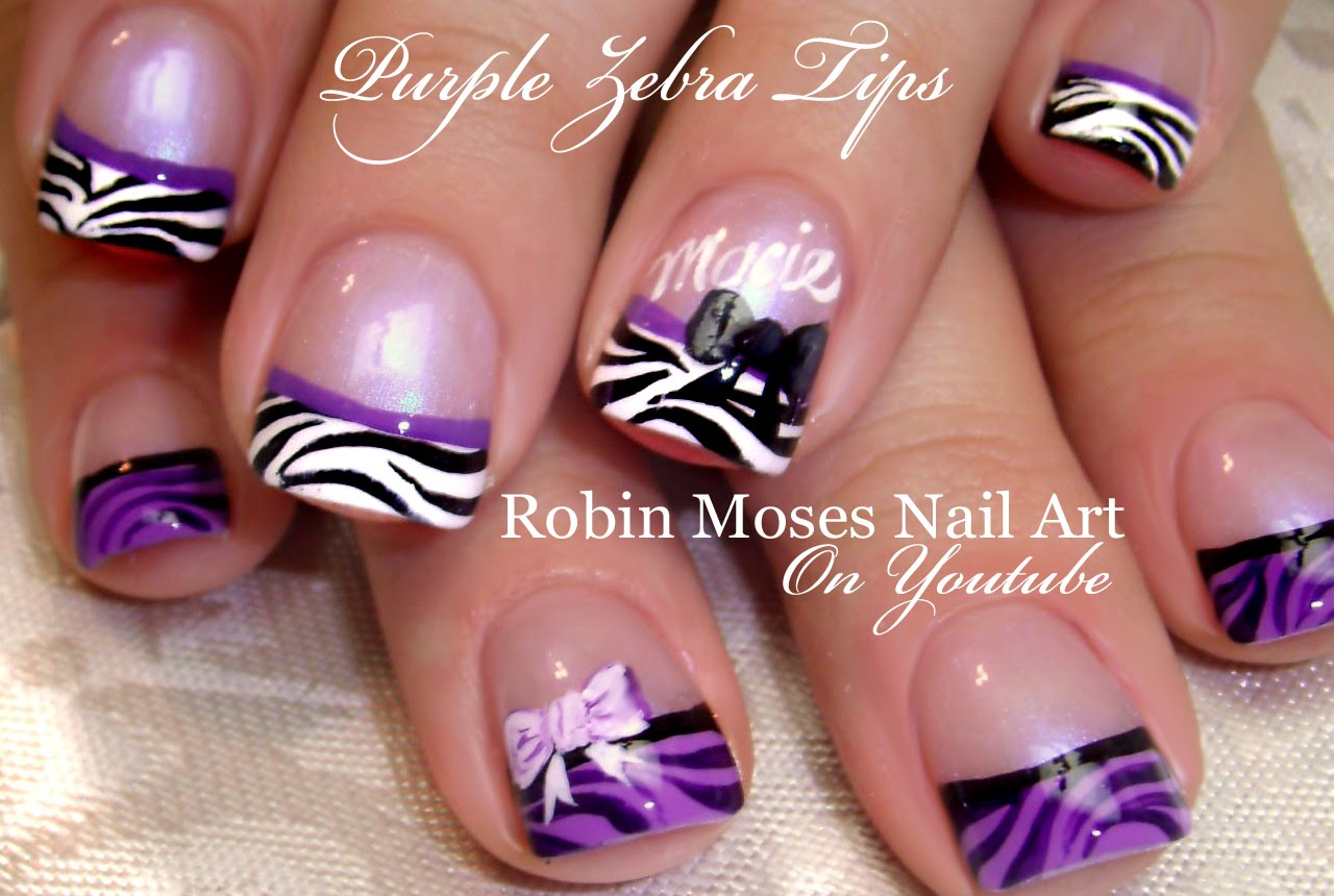 50 Cool Purple French Tip Nail Art Design Idea