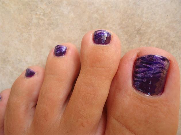 Purple Zebra Print Toe Nail Art