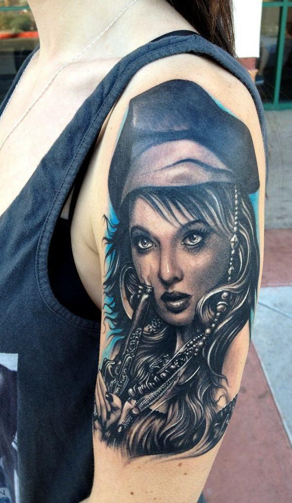realistic 3d pirate girl face tattoo on left half sleeve. Black Bedroom Furniture Sets. Home Design Ideas