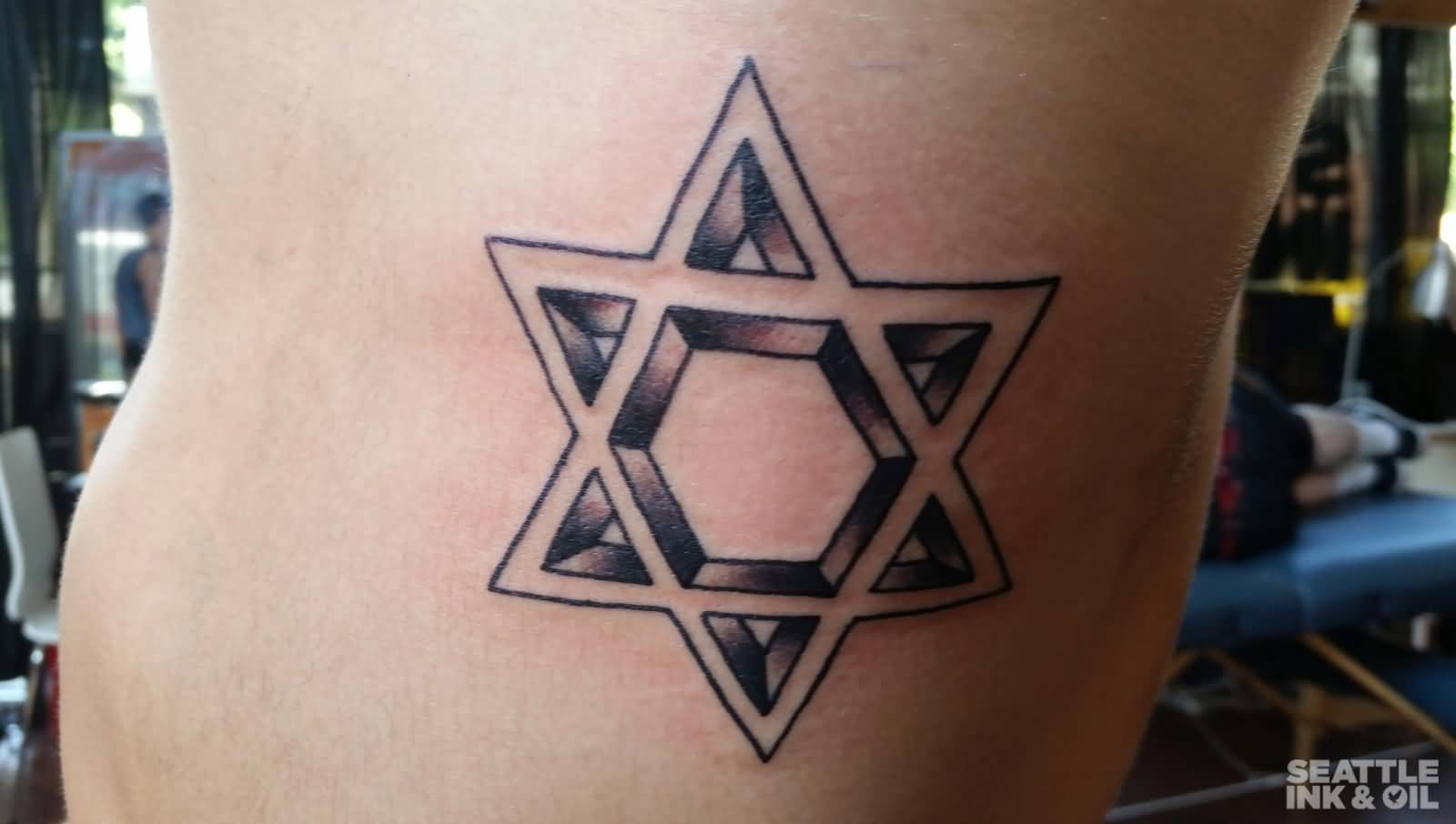 Black david star biceps tattoo for Star of david tattoo designs