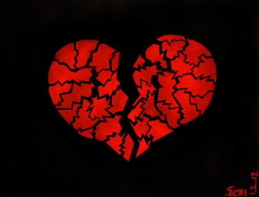 """Red Broken Heart Illustration """""""