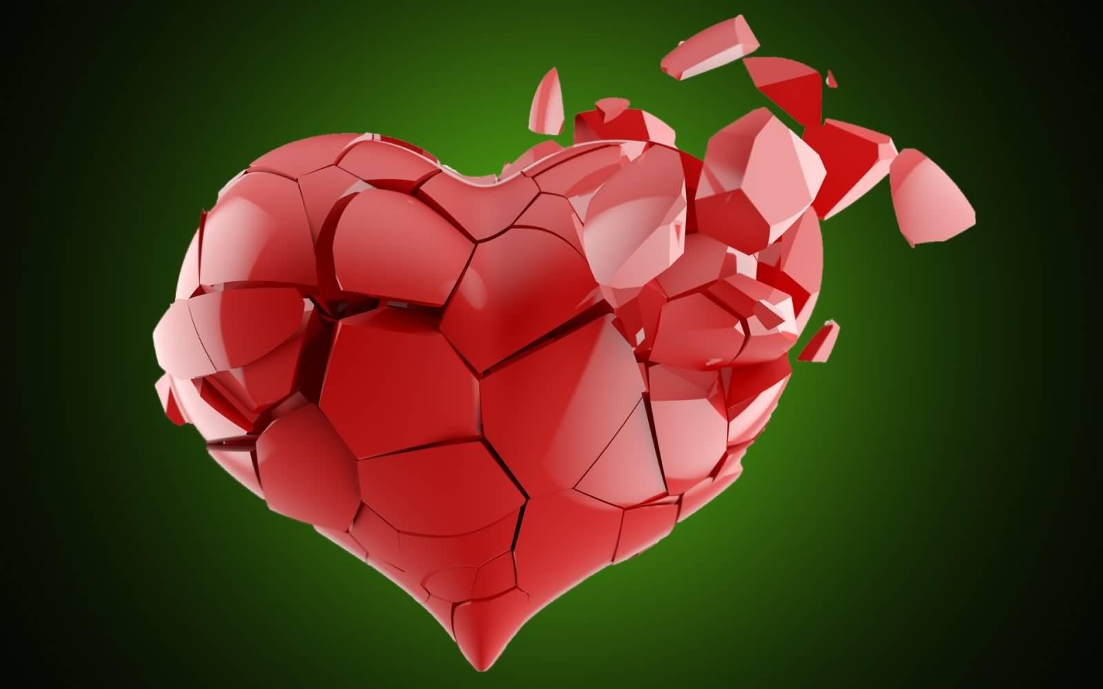 Red Crystals Broken Heart Design