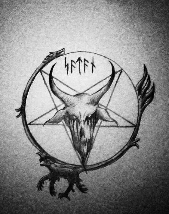 Satan Pentagram Tattoo Design By Satanen
