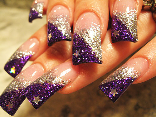 Silver And Purple Glitter With Stars Design Nail Art Idea - 65+ Purple And Silver Nail Art Design Ideas