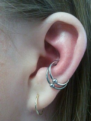 Silver Bead Rings Dual Conch Piercing Picture