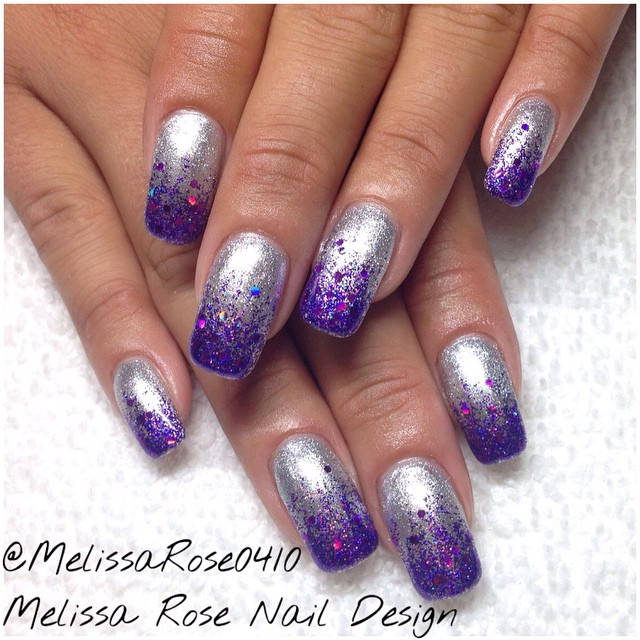 Nail designs purple and silver purple silver nails view images cool purple glitter nail art design prinsesfo Image collections