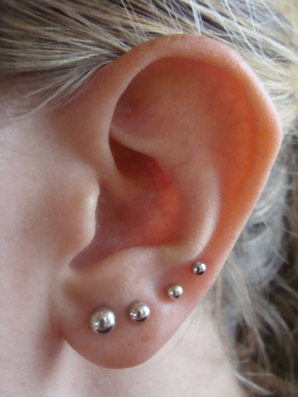s ear piercing earrings silver studs earlobe piercings on left ear 7330