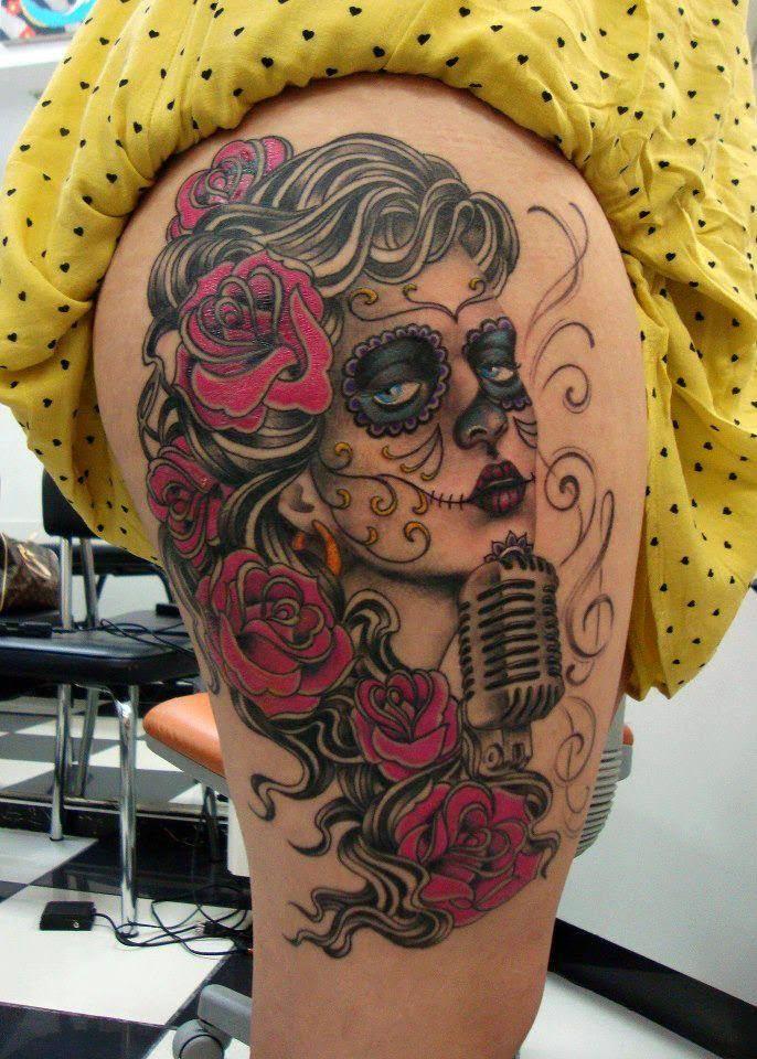 20 Traditional Catrina Tattoos border=